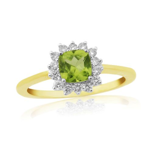 Peridot And Diamond Gold Cluster Ring